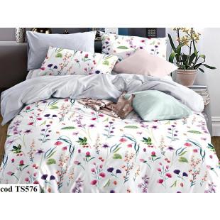 Lenjerie de pat pentru 1 persoana din bumbac satinat, L'atelier Creatif Pucioasa, cu 4 piese (2 fete de perna) - Selena