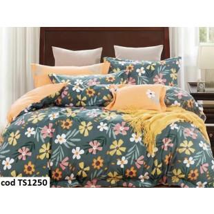 Lenjerie de pat pentru 1 persoana din bumbac satinat, L'atelier Creatif Pucioasa, cu 4 piese (2 fete de perna)