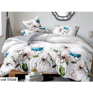 Lenjerie de pat pentru 1 persoana din bumbac satinat, Pucioasa, L'atelier Creatif, cu 4 piese (2 fete de perna) - Anabela