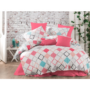 Lenjerie de pat pentru 2 persoane, 4 piese, Bahar Majoli, din bumbac 100% Ranforce - Sonia