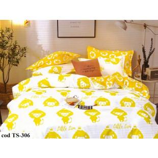 Lenjerie de pat pentru 2 persoane din bumbac 100% satinat, cu 4 piese, Dormy Pucioasa - Laila