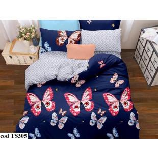 Lenjerie de pat pentru 2 persoane din bumbac satinat, cu 4 piese, Dormy Pucioasa - Sorina