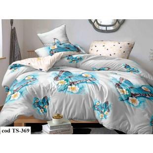 Lenjerie de pat pentru 2 persoane din bumbac satinat, L'atelier Creatif Pucioasa, cu 4 piese - Carolina
