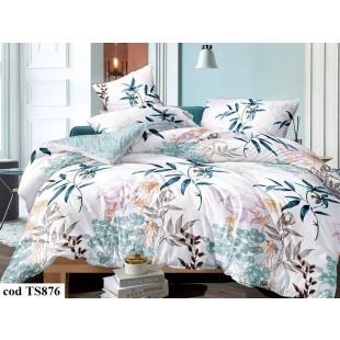 Lenjerie de pat pentru 2 persoane din bumbac satinat, L'atelier Creatif Pucioasa, cu 4 piese - Daiana