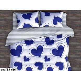 Lenjerie de pat pentru 2 persoane din bumbac satinat, L'atelier Creatif Pucioasa, cu 4 piese - Dariana