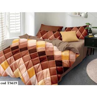 Lenjerie de pat pentru 2 persoane din bumbac satinat, L'atelier Creatif Pucioasa, cu 4 piese - Geta