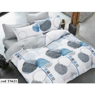 Lenjerie de pat pentru 2 persoane din bumbac satinat, L'atelier Creatif Pucioasa, cu 4 piese - Larisa