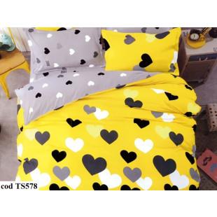Lenjerie de pat pentru 2 persoane din bumbac satinat, L'atelier Creatif Pucioasa, cu 4 piese - Leticia