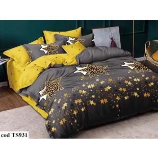 Lenjerie de pat pentru 2 persoane din bumbac satinat, L'atelier Creatif Pucioasa, cu 4 piese - Letisia