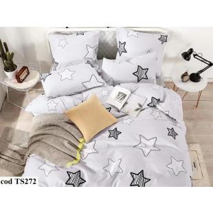 Lenjerie de pat pentru 2 persoane din bumbac satinat, L'atelier Creatif Pucioasa, cu 4 piese - Lizuca