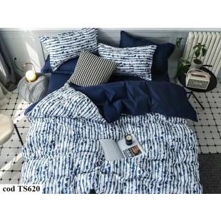Lenjerie de pat pentru 2 persoane din bumbac satinat, L'atelier Creatif Pucioasa, cu 4 piese - Lorina