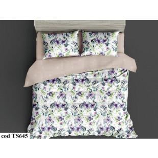 Lenjerie de pat pentru 2 persoane din bumbac satinat, L'atelier Creatif Pucioasa, cu 4 piese - Nadina