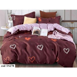 Lenjerie de pat pentru 2 persoane din bumbac satinat, L'atelier Creatif Pucioasa, cu 4 piese - Oana