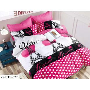 Lenjerie de pat pentru 2 persoane din bumbac satinat, L'atelier Creatif Pucioasa, cu 4 piese - Pink Paris