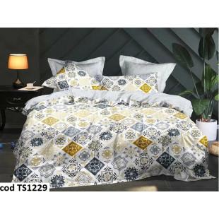 Lenjerie de pat pentru 2 persoane din bumbac satinat, L'atelier Creatif Pucioasa, cu 4 piese - Simina