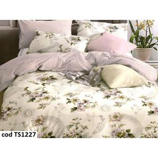 Lenjerie de pat pentru 2 persoane din bumbac satinat, L'atelier Creatif Pucioasa, cu 4 piese - Jenna