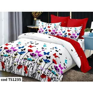 Lenjerie de pat pentru 2 persoane din bumbac satinat, L'atelier Creatif Pucioasa, cu 4 piese
