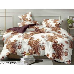 Lenjerie de pat pentru 2 persoane din bumbac satinat, L'atelier Creatif Pucioasa, cu 4 piese - Neli