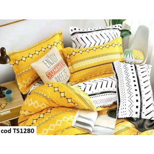Lenjerie de pat pentru 2 persoane din bumbac satinat, L'atelier Creatif Pucioasa, cu 6 piese - Camelia