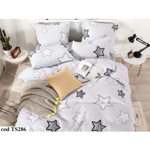 Lenjerie de pat pentru 2 persoane din bumbac satinat, L'atelier Creatif Pucioasa, cu 6 piese - Dariana
