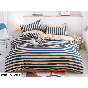 Lenjerie de pat pentru 2 persoane din bumbac satinat, L'atelier Creatif Pucioasa, cu 6 piese