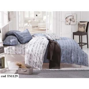 Lenjerie de pat pentru 2 persoane din bumbac satinat, L'atelier Creatif Pucioasa, cu 6 piese - Hanna