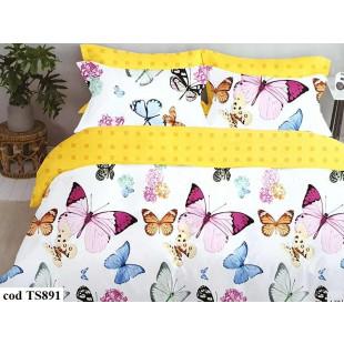 Lenjerie de pat pentru 2 persoane din bumbac satinat, L'atelier Creatif Pucioasa, cu 6 piese - Kendra