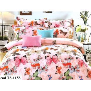 Lenjerie de pat pentru 2 persoane din bumbac satinat, L'atelier Creatif Pucioasa, cu 6 piese - Lea