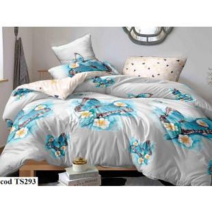 Lenjerie de pat pentru 2 persoane din bumbac satinat, L'atelier Creatif Pucioasa, cu 6 piese - Sabrina