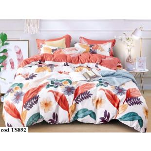 Lenjerie de pat pentru 2 persoane din bumbac satinat, L'atelier Creatif Pucioasa, cu 6 piese - Salomea