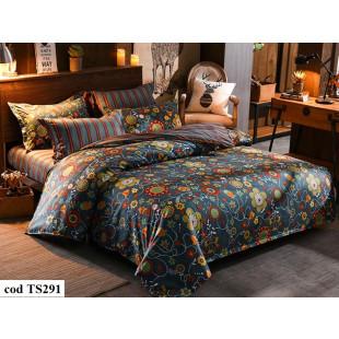 Lenjerie de pat pentru 2 persoane din bumbac satinat, L'atelier Creatif Pucioasa, cu 6 piese - Zina