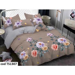 Lenjerie de pat pentru 2 persoane din bumbac satinat, L'atelier Creatif Pucioasa, cu 6 piese - Alice