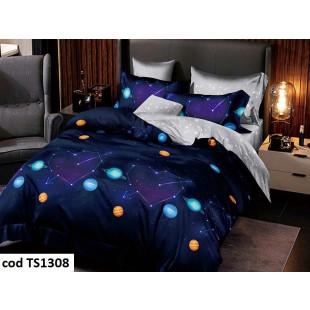Lenjerie de pat pentru 2 persoane din bumbac satinat, L'atelier Creatif Pucioasa, cu 6 piese - Larisa