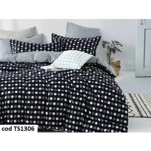 Lenjerie de pat pentru 2 persoane din bumbac satinat, L'atelier Creatif Pucioasa, cu 6 piese - Oana