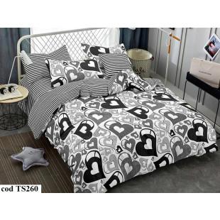 Lenjerie de pat pentru 2 persoane din bumbac satinat, Pucioasa, L'atelier Creatif, cu 4 piese - Otilia