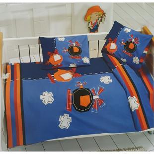 Lenjerie de pat, pentru patut de bebe, 4 piese, Majoli, din bumbac 100% Ranforce - Yanis
