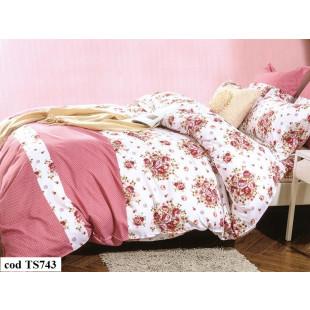 Lenjerie de pat Satin, Casa New Fashion pentru 2 persoane, bumbac satinat, cu 4 piese - Eliana