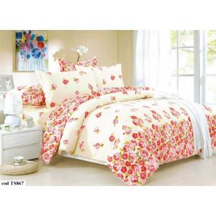 Lenjerie de pat Satin, Casa New Fashion pentru 2 persoane, bumbac satinat, cu 4 piese - Linda