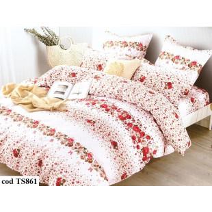 Lenjerie de pat Satin, Casa New Fashion pentru 2 persoane, bumbac satinat, cu 4 piese - Nina