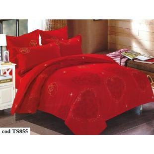 Lenjerie de pat Satin, Casa New Fashion pentru 2 persoane, bumbac satinat, cu 4 piese - Sophia