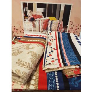 Lenjerie pentru pat dublu, 2 persoane, din bumbac finet, cu 4 piese - Lisa