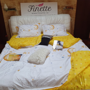 Lenjerie pentru pat dublu, 2 persoane, din bumbac satinat, cu 4 piese - Danina