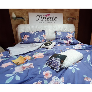 Lenjerie pentru pat dublu, 2 persoane, din bumbac satinat, cu 4 piese - Anne