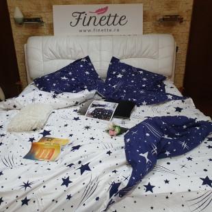 Lenjerie pentru pat dublu, 2 persoane, din bumbac satinat, cu 4 piese - Keyla
