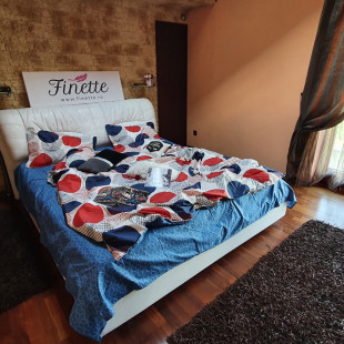 Lenjerie pentru pat dublu, 2 persoane, din bumbac satinat, cu 4 piese - Gabriela