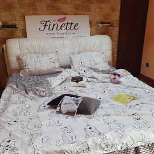 Lenjerie pentru pat dublu, 2 persoane, din bumbac satinat, cu 4 piese - Janine