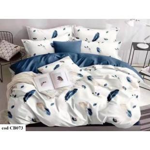 Lenjerie pentru pat dublu, 2 persoane, din bumbac finet, cu 4 piese - Letisia