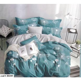 Lenjerie pentru pat dublu, 2 persoane, din bumbac satinat, cu 4 piese - Melania