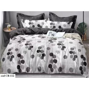 Lenjerie pentru pat dublu, 2 persoane, din bumbac satinat, cu 4 piese - Mina