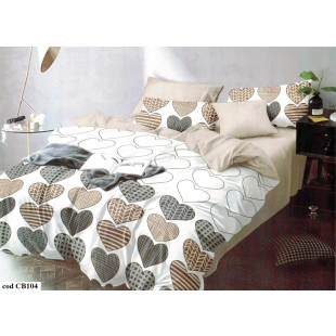 Lenjerie pentru pat dublu, 2 persoane, din bumbac satinat, cu 4 piese - Miruna
